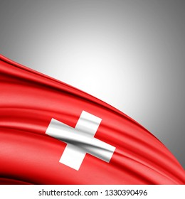Switzerland flag of silk with copyspace for your text or images and white background-3D illustration