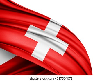 Switzerland   flag of silk with copyspace for your text or images and white background