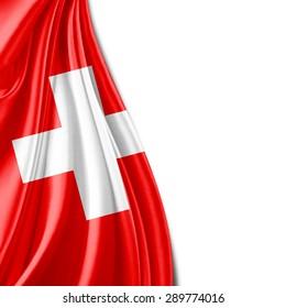 Switzerland flag of silk and white background