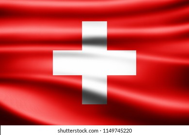 Switzerland  flag of silk-3D illustration