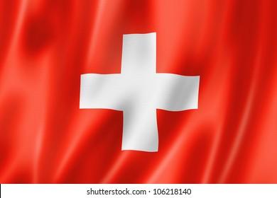 Switzerland flag, three dimensional render, satin texture