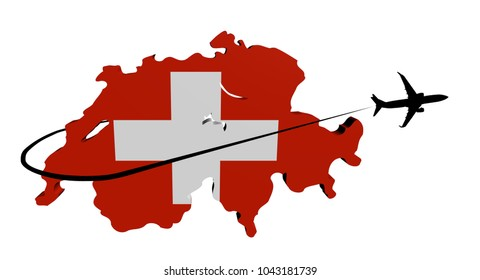 Switzerland map flag with plane silhouette and swoosh 3d illustration