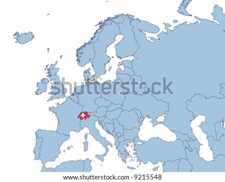Switzerland On Europe Map Stock Illustration 9215548 Shutterstock