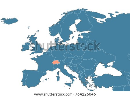 Switzerland On Map Europe Stock Illustration 764226046 Shutterstock