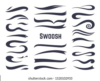 Swooshes and swashes. Underline swish tails for sport text logos, swirl calligraphic font line decoration element.  swash style set