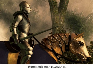 Sword in hand, a knight in shining armor rides on his armored horse through a foggy medieval forest. 3D Rendering