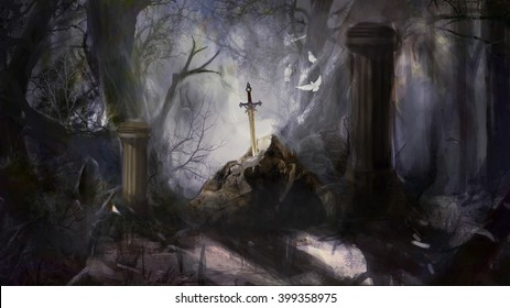 sword in a stone in a forest