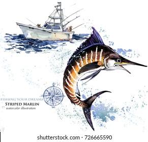 swordfish. watercolor Marlin illustration. Atlantic fishing