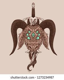 Sword-pierced demon head
