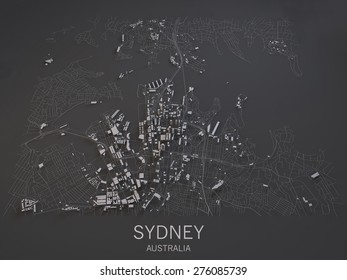 Sydney, Australia, satellite map view, map in negative, 3d roads and buildings
