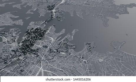 Sydney city map. 3d map of Sydney. 3d illustration
