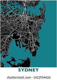 Sydney City Map Big Poster