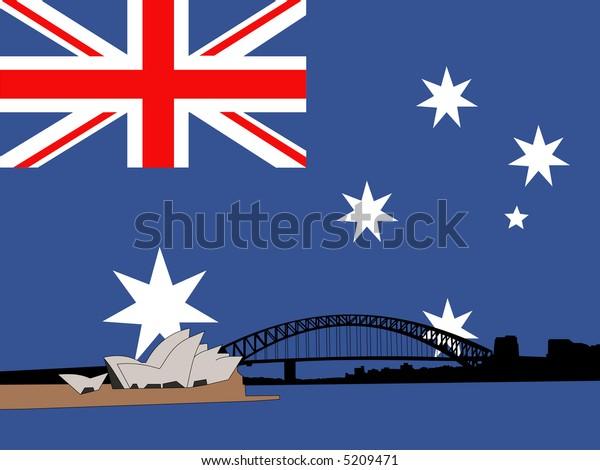 Sydney harbour bridge against Australian flag JPG