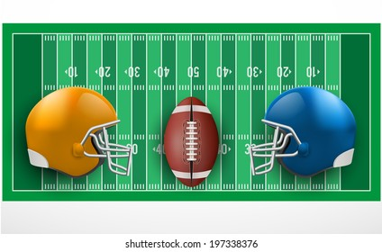 Symbol of a american football game. Helmets and ball on field in three-dimensional space. Isolated on white background. Bitmap copy.