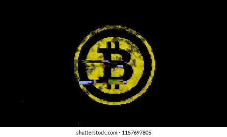The symbol of bitcoin (digital virtual crypto-currency) created with yellow ASCII characters. Heavy digital glitch distortion fx applied.