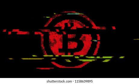 The symbol of bitcoin (digital virtual crypto-currency) created with red ASCII characters. Heavy digital glitch distortion fx applied.