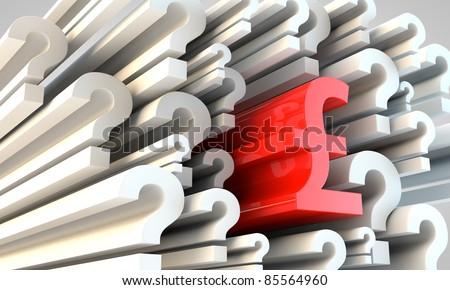 Symbol British Pounds Amongst Question Marks Stock Illustration