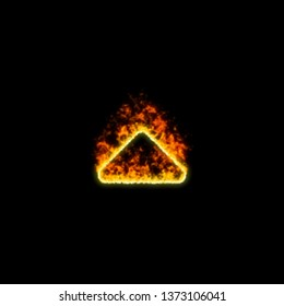 The symbol caret up burns in red fire