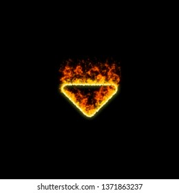 The symbol caret down burns in red fire