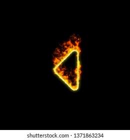 The symbol caret left burns in red fire