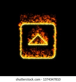 The symbol caret square up burns in red fire