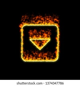 The symbol caret square down burns in red fire