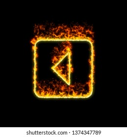 The symbol caret square left burns in red fire