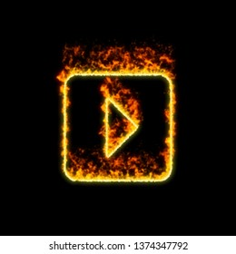 The symbol caret square right burns in red fire