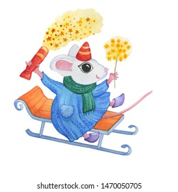 The symbol Chinese new year 2020 - the white cute little mouse in winter clothes holds holiday firecracker and rides on a sled. Cartoon watercolor painting illustration, isolated on a white background