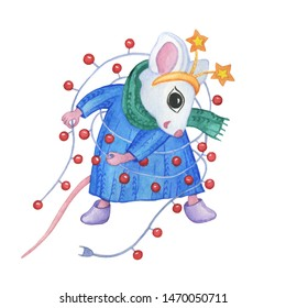 The symbol Chinese new year 2020 - the white cute little mouse in winter clothes and a festive garland. Cartoon watercolor hand drawn painting illustration, isolated on a white background.