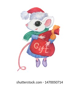 The symbol Chinese new year 2020 - the white cute little mouse in winter clothes holds a holiday bag with gifts. Cartoon watercolor hand drawn painting illustration, isolated on a white background.