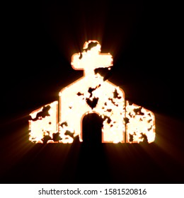 Symbol church burned on a black background. Bright shine