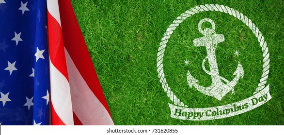 Symbol of colombus day  against closed up view of grass