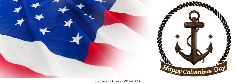 Symbol of colombus day  against full frame of wrinkled american flag