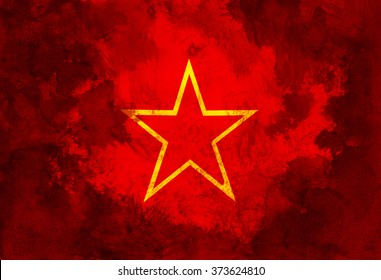 Symbol of communism, red star. Left communist movement and party stands for idea of equal society, common ownership of the means of production and absence of social classes, money and state