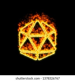 The symbol dice d20 burns in red fire