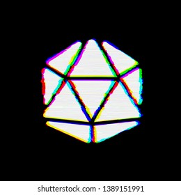 Symbol dice d20 has defects. Glitch and stripes