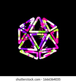 Symbol dice d20 from multi-colored circles and stripes. UFO Green, Purple, Pink