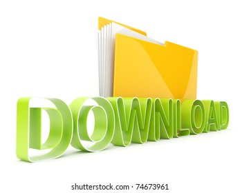 Symbol of download from Internet. Folder and text 3d isolated