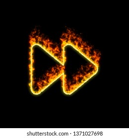 The symbol forward burns in red fire