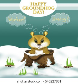 Symbol of Groundhog day with text. Cute cartoon Groundhog  thinking and guessing about predicting the weather. Marmot emerges from its burrow. USA holiday on 2nd of February