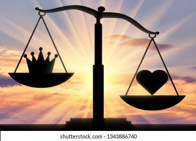 Symbol of the heart Altruism takes priority over the symbol of the crown of egoism on the scales of justice. The concept of choosing to be selfish or altruistic