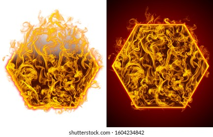 Symbol of hexagon on fire, red and white background