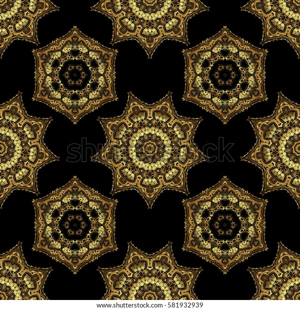 Symbol holiday, New Year 2018 celebration. Christmas gold snowflakes seamless pattern. Winter snow design wallpaper. Golden glitter snowflakes on a black background.
