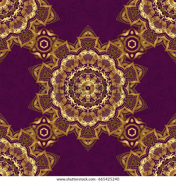 Symbol holiday, New Year 2018 celebration. Winter snow design wallpaper. Golden glitter snowflakes on a purple background. Christmas gold snowflakes seamless pattern.