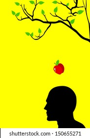Symbol illustration of an apple falling dawn to the head