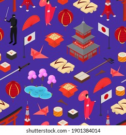 Symbol of Japan Seamless Pattern Background Isometric View Style Design Japanese Asian Element Travel Business. illustration of Oriental National Culture, Food and Monument