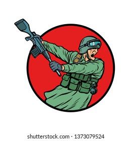 symbol kick the gun butt. soldiers at war. Pop art retro  illustration kitsch vintage