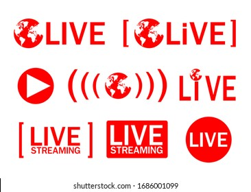 Symbol of live streaming. Icons global red buttons of live Streaming, Broadcasting, Online stream. template for tv, shows, movies and live performances.