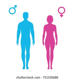 Symbol man and woman on a white background